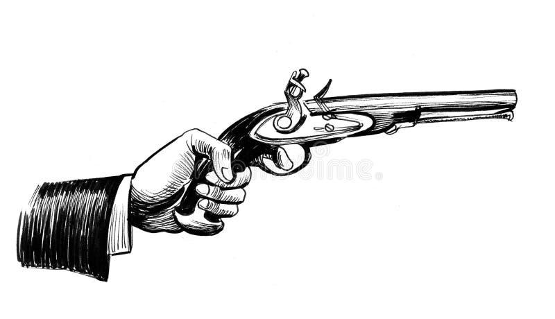 Main avec un rétro pistolet illustration de vecteur