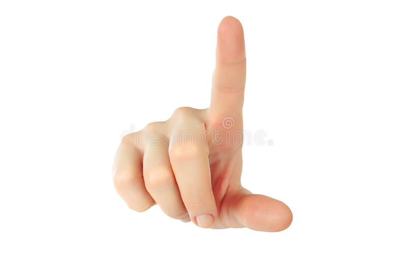 Main avec un somethimg émouvant de doigt photographie stock