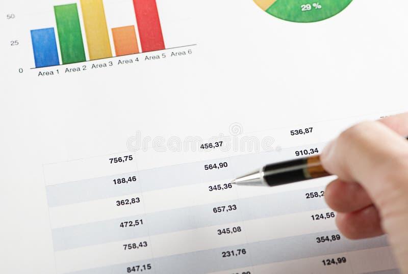 Main avec un stylo se dirigeant sur les graphiques colorés de finances photos libres de droits