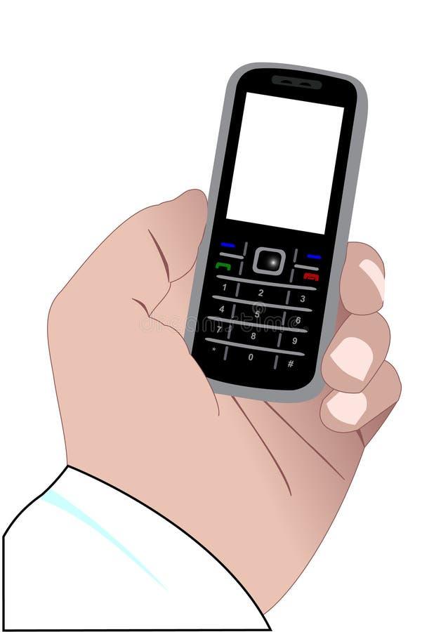 Main avec un téléphone portable illustration libre de droits