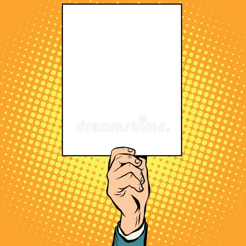 Main avec une affiche claire de plat illustration stock