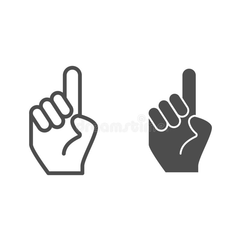 Main avec une indication par les doigts vers le haut de ligne et d'icône de glyph Main avec l'index vers le haut de l'illustratio illustration stock