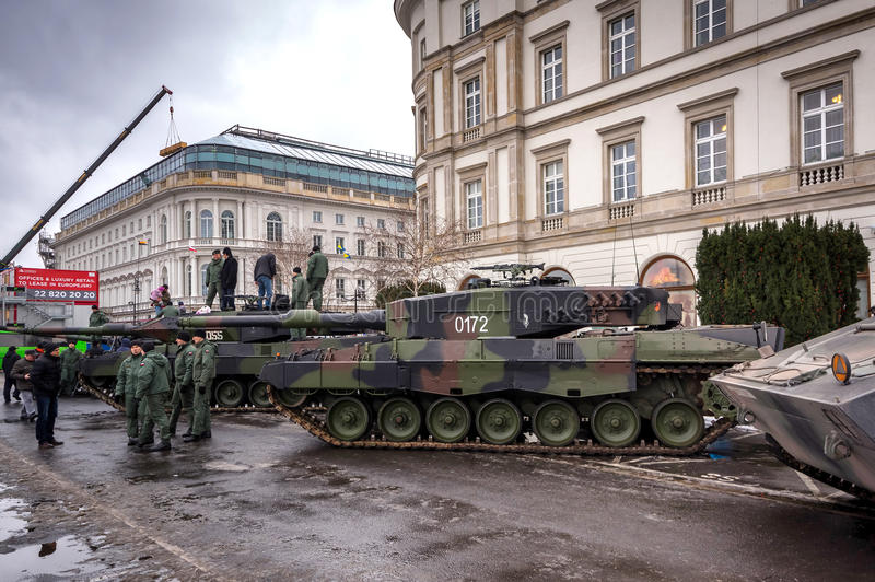 Weapons and equipment - Leopard 2A4. German Leopard 2A4 main battle tank used by the Polish Land Forces - Warsaw, Poland stock photos