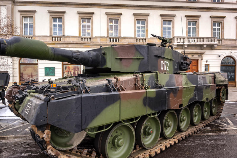 Weapons and equipment - Leopard 2A4. German Leopard 2A4 main battle tank used by the Polish Land Forces - Warsaw, Poland stock images