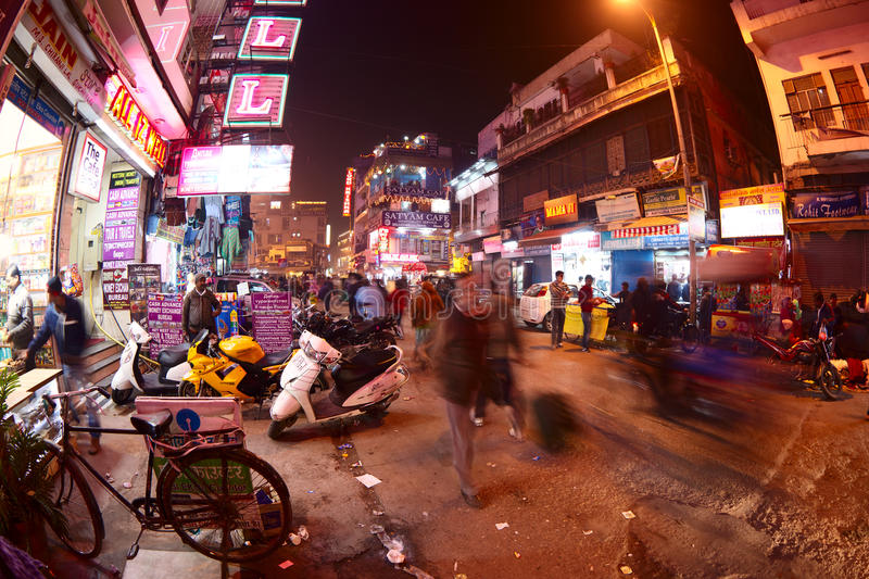 Main Bazaar Road at night stock photography
