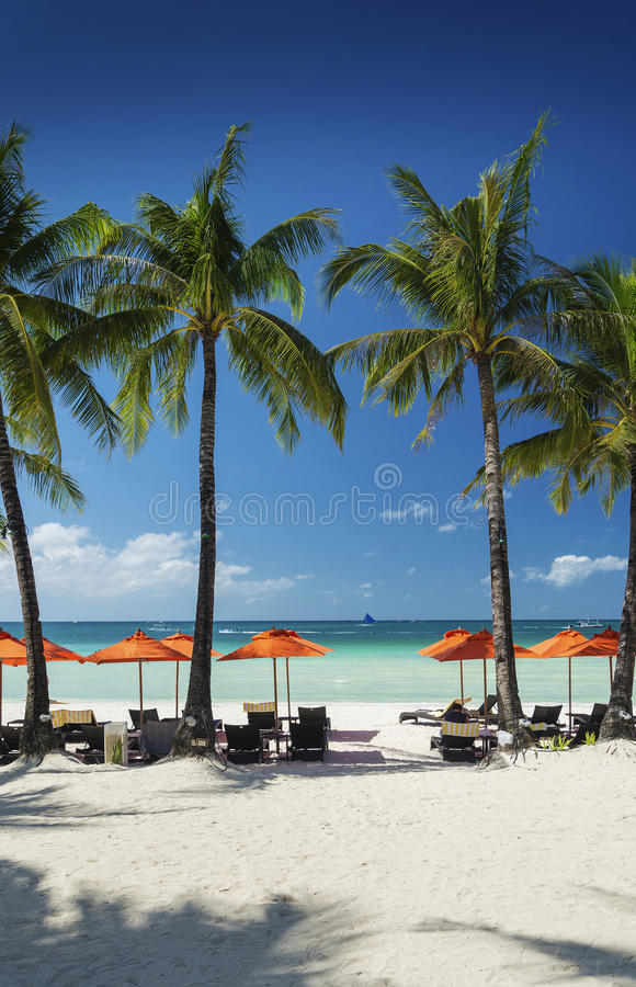 Main beach of tropical paradise boracay island philippines royalty free stock images
