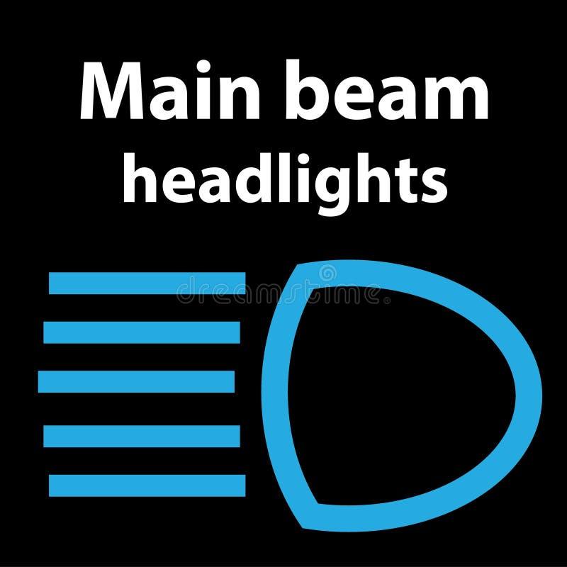 Main beam headlights icon, illustration dtc code obd error dasboard sign. Vector illustration representing icon of car dashboard main beam headlight royalty free illustration