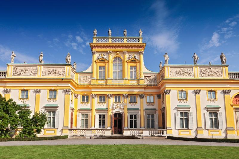 The main building and alcove towers at Wilanow Palace in Warsaw, Poland royalty free stock photography