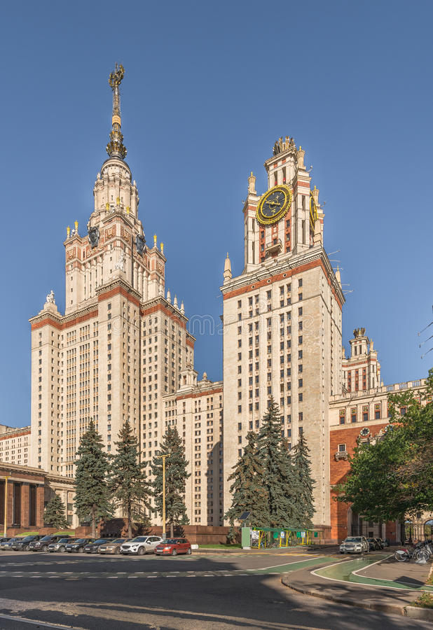 The main building of Lomonosov Moscow State University on Sparrow Hills. Moscow, Russia - October 3, 2015: The main building of Lomonosov Moscow State royalty free stock photos