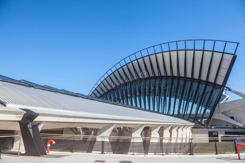 Main building of Lyon Saint Exupery Airport TGV Train station main building. Designed by Santiago Calatrava Valls. LYON, FRANCE - JULY 13, 2019: ..Picture of the stock photo