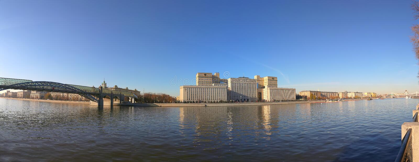 Main Building of the Ministry of Defence of the Russian Federation Minoboron-- is the governing body of the Russian Armed Forces. And Moskva River panorama royalty free stock photography