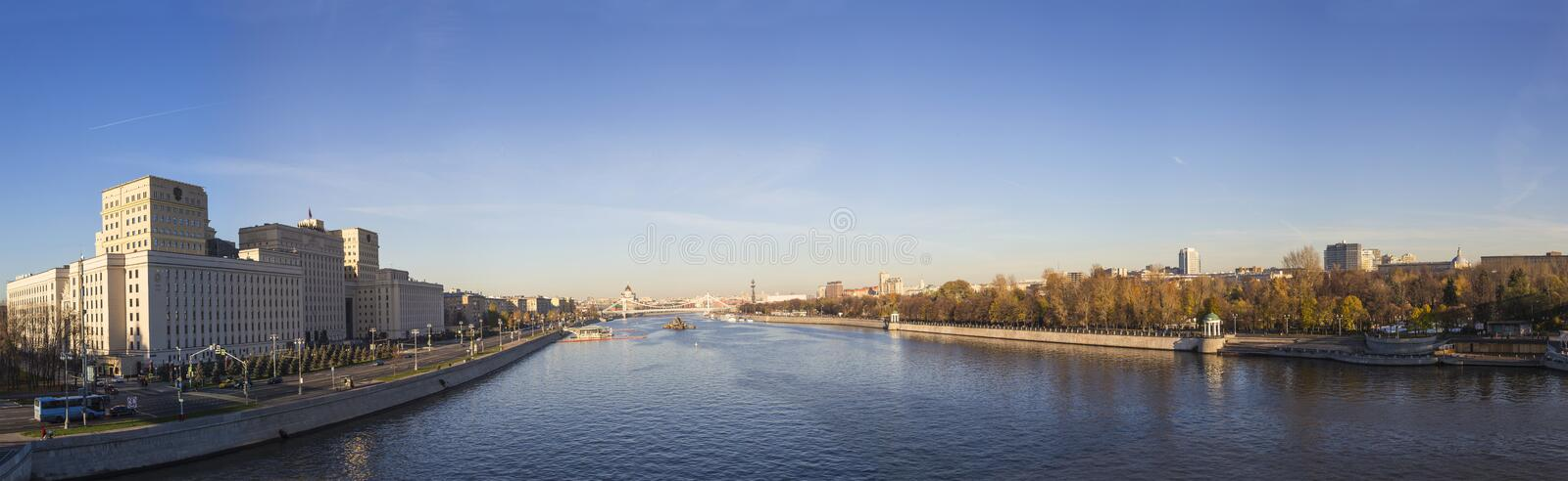 Main Building of the Ministry of Defence of the Russian Federation Minoboron-- is the governing body of the Russian Armed Forces. And Moskva River panorama royalty free stock photo