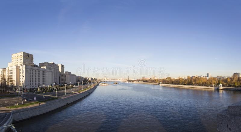 Main Building of the Ministry of Defence of the Russian Federation Minoboron. Is the governing body of the Russian Armed Forces and Moskva River panorama stock photography