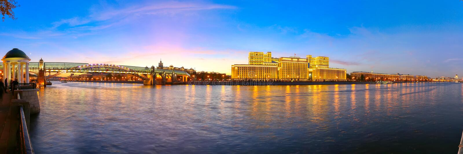 Main Building of the Ministry of Defence of the Russian Federation Minoboron and Moskva River panorama. Moscow, Russia. Main Building of the Ministry of Defence royalty free stock image