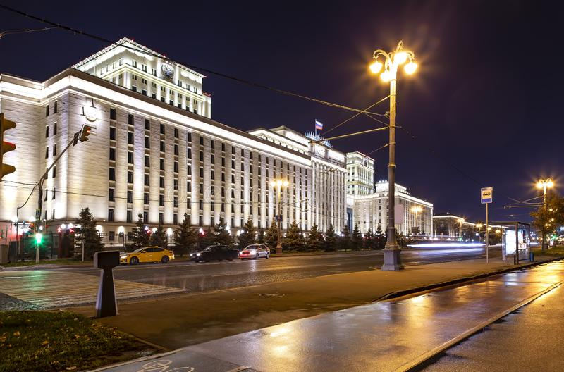 Main Building of the Ministry of Defence of the Russian Federation Minoboron, at night. Moscow, Russia. Main Building of the Ministry of Defence of the Russian stock images