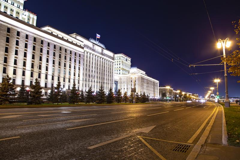 Main Building of the Ministry of Defence of the Russian Federation Minoboron, at night. Moscow, Russia. Main Building of the Ministry of Defence of the Russian stock photo