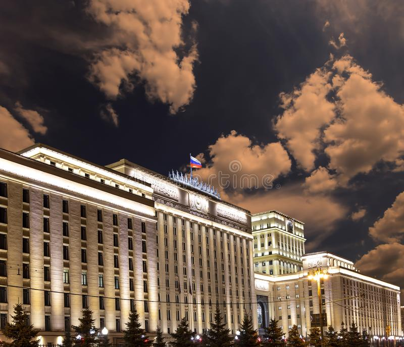 Main Building of the Ministry of Defence of the Russian Federation Minoboron, at night.. Moscow, Russia. Main Building of the Ministry of Defence of the Russian stock photography
