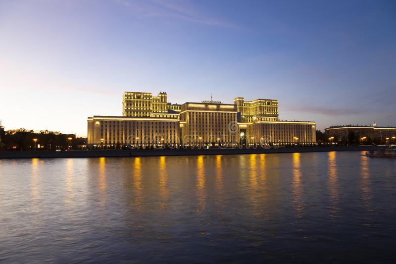 Main Building of the Ministry of Defence of the Russian Federation Minoboron and Moskva River. Moscow, Russia. Main Building of the Ministry of Defence of the stock image