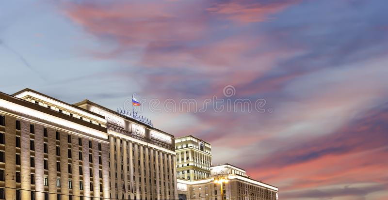 Main Building of the Ministry of Defence of the Russian Federation Minoboron, at night.. Moscow, Russia. Main Building of the Ministry of Defence of the Russian stock photo