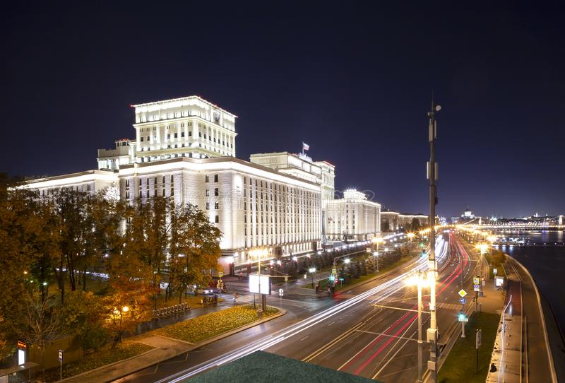 Main Building of the Ministry of Defence of the Russian Federation Minoboron, at night. Moscow, Russia. Main Building of the Ministry of Defence of the Russian stock photos