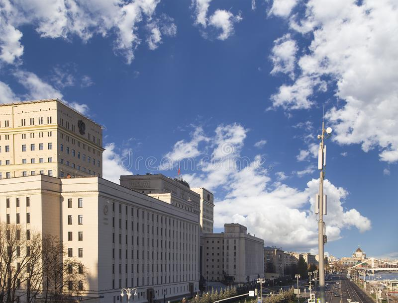 Main Building of the Ministry of Defence of the Russian Federation. Moscow, Russia. Main Building of the Ministry of Defence of the Russian Federation Minoboron stock image