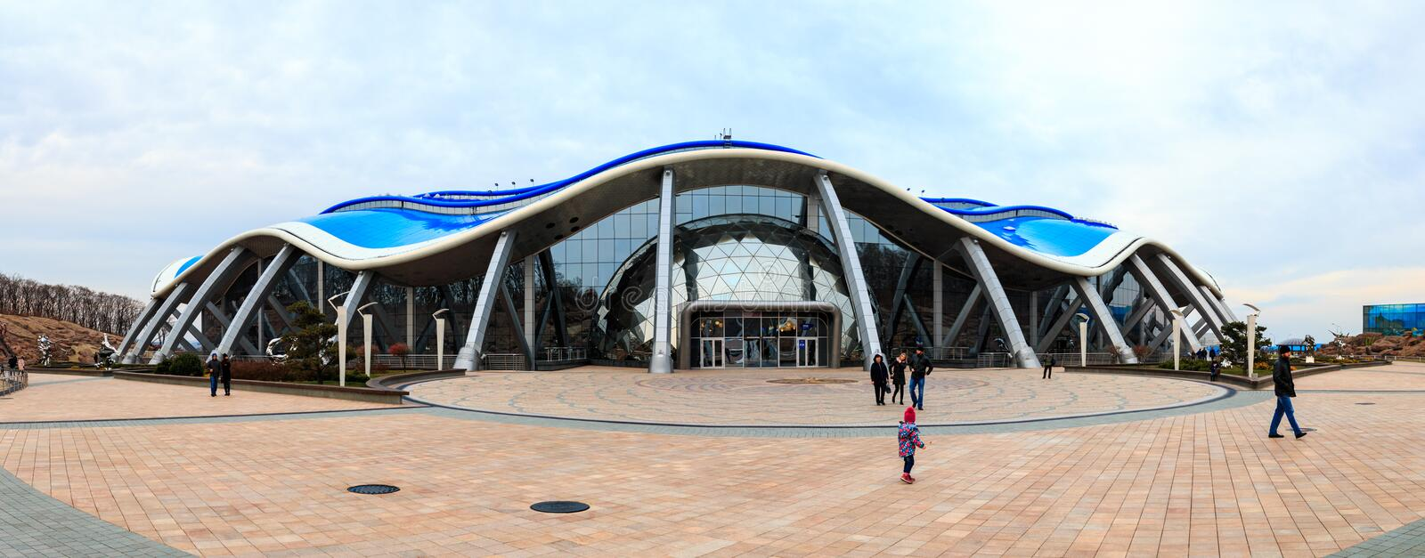 The main building in the Primorsky Aquarium or Oceanarium of the Far Eastern Academy of Sciences in the Russian city of. VLADIVOSTOK, RUSSIA - OCTOBER 20, 2018 royalty free stock image
