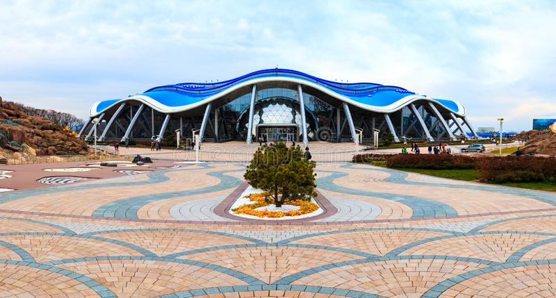 The main building in the Primorsky Aquarium or Oceanarium of the Far Eastern Academy of Sciences in the Russian city of. VLADIVOSTOK, RUSSIA - OCTOBER 20, 2018 stock photography