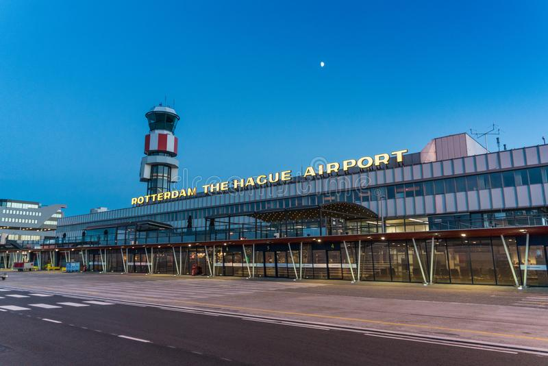 The main building of the Rotterdam The Hague airport stock photos