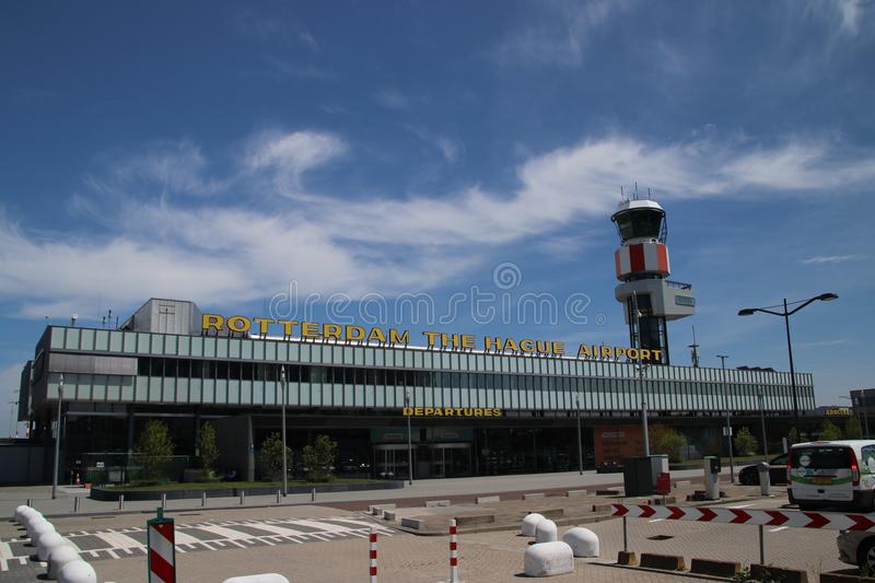 Main building of Rotterdam The Hague Airport, a small airport close to Rotterdam, The Netherlands stock photos