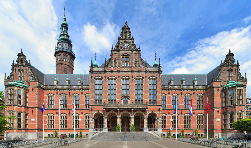 Main building of the University of Groningen, Netherlands royalty free stock photos