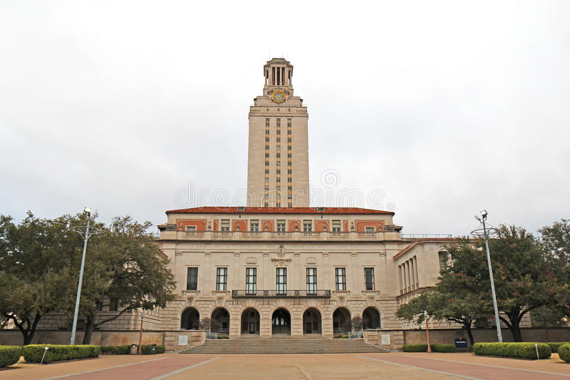 Main Building on the University of Texas at Austin campus. Main Building (or The Tower) on the campus of the University of Texas at Austin against a cloudy sky royalty free stock photos