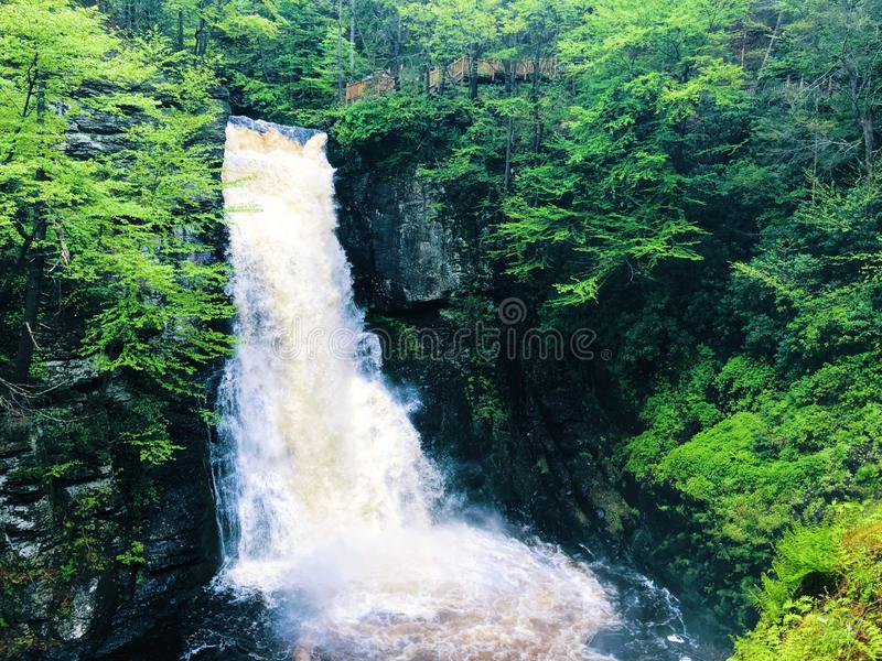 The main Bushkill Falls water flowing fast. In the summer that located in Northeast Pennsylvania`s Pocono Mountains in the United States stock image
