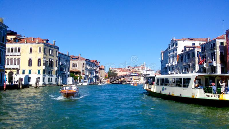 Main canal in Venice. Excursion on the water transport. Wonderful summer day in Venice. Excursion along the canal of the city royalty free stock photography