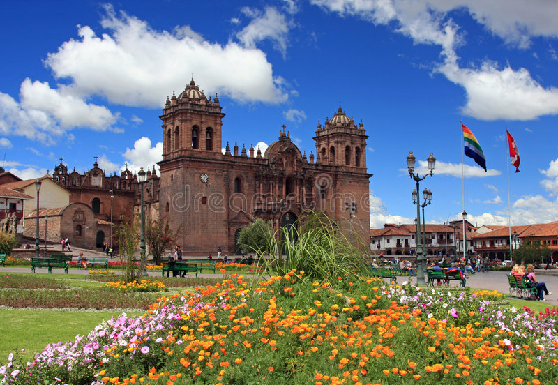 Main Cathedral in Cusco, Peru. The former capital of the Inca empire stock photography