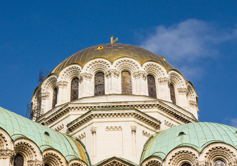 The main cathedral dome of St. Alexander Nevsky Cathedral in Sofia, Bulgaria. Sofia - the capital of the Republic of Bulgaria. It is the largest city in the royalty free stock images