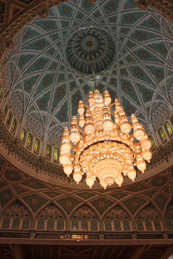 The Main Chandelier of the Sultan Qaboos Grand Mosque. The largest chandelier in the world adorns the Sultan Qaboos Grand Mosque in Muscat, Oman. It weighs 8.5 stock photos