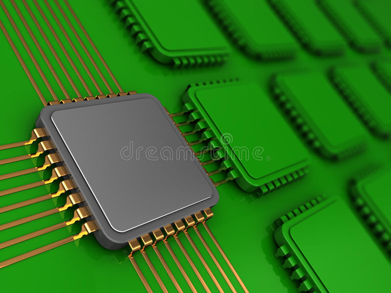 Main chip. 3d illustration of electronic board and main chip vector illustration