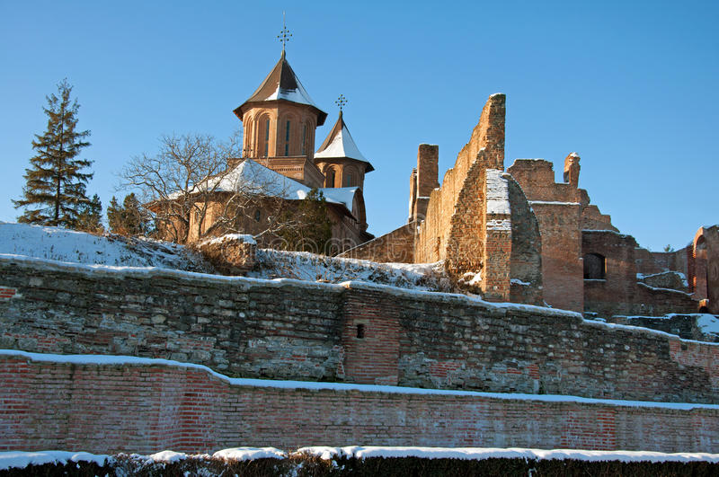 Main church of chindia fortress covered by snow stock image