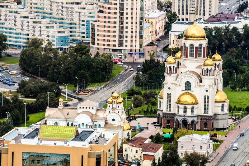 The main church of Ekaterinburg. From a height stock photography