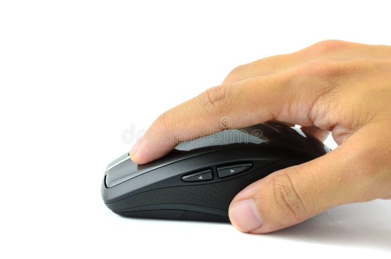 Main cliquant sur la souris de radio d'ordinateur image stock