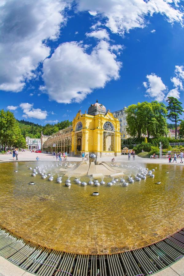 Main colonnade and Singing fountain in the small west bohemian spa town Marianske Lazne Marienbad - Czech Republic. Main colonnade and Singing fountain in the stock photos