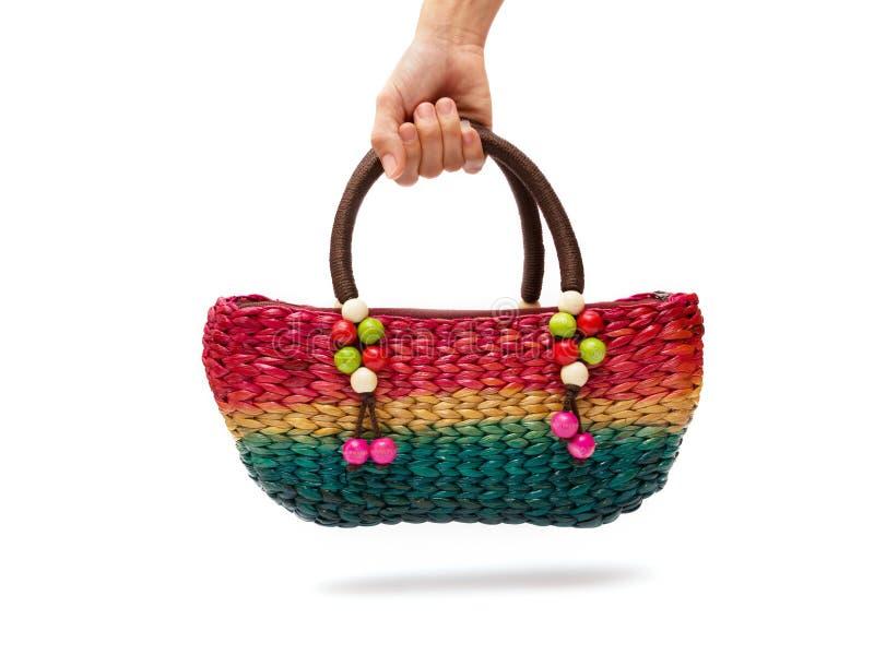 Main colorée de femme de sacs photo libre de droits