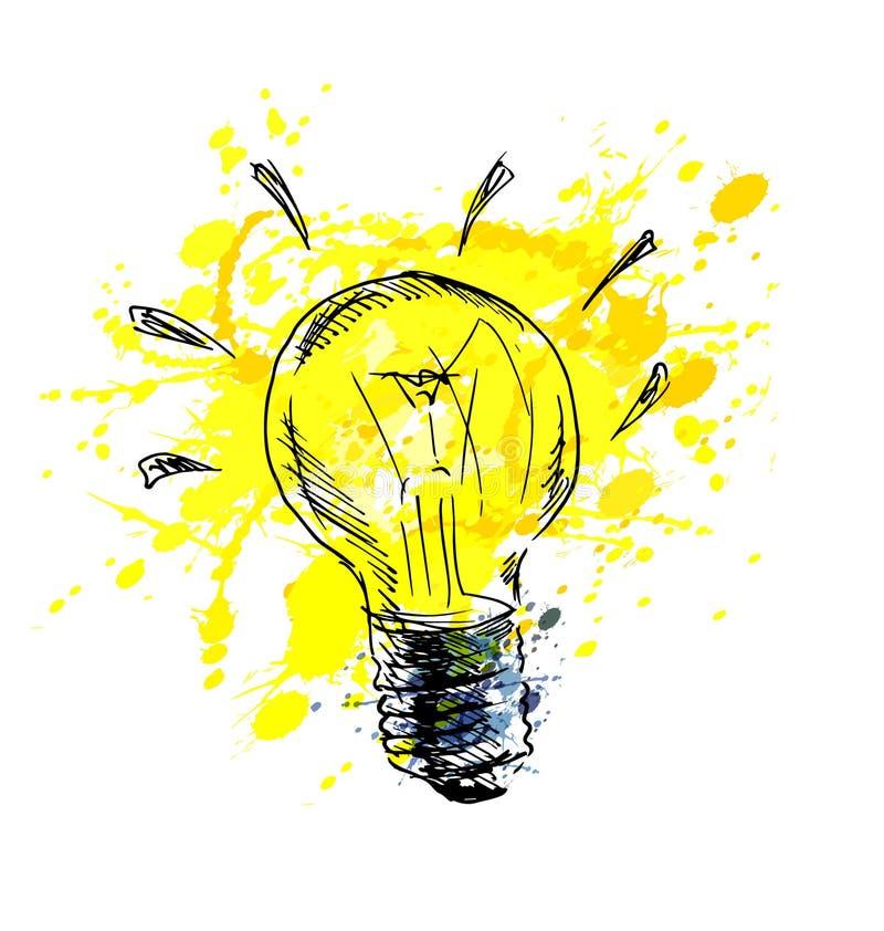 Main colorée dessinant l'ampoule illustration de vecteur