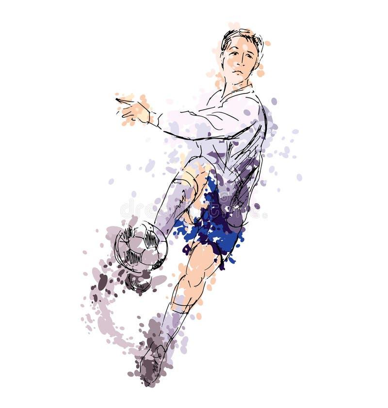Main colorée dessinant un footballeur illustration stock