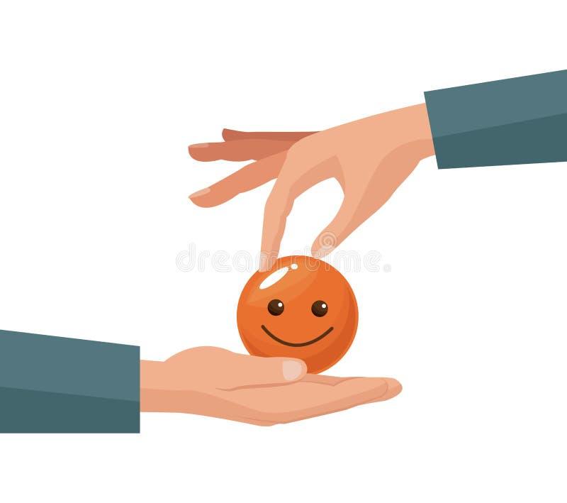 Main colorée donnant la pièce de monnaie sous forme de visage heureux dans une paume humaine illustration stock