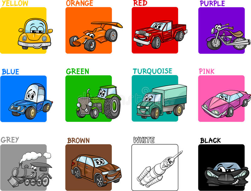 Main colors cartoon collection. Cartoon Illustration of Primary Colors with Transportation Vehicles Educational Set for Preschool Children royalty free illustration