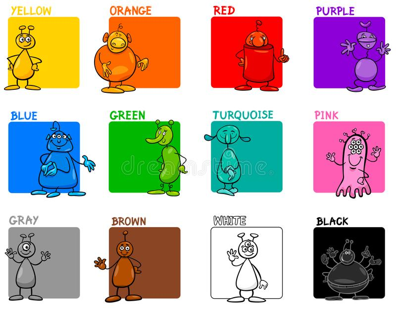 Main colors cartoon educational set with aliens. Cartoon Illustration of Main Colors with Fantasy Alien Characters Educational Set for Preschool Children stock illustration
