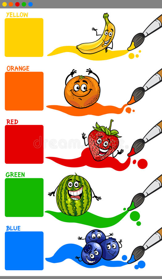 Main colors with cartoon fruits. Cartoon Illustration of Primary Colors with Funny Fruits Educational Set for Preschool Children royalty free illustration
