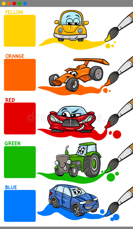Main colors cartoon with vehicles stock illustration