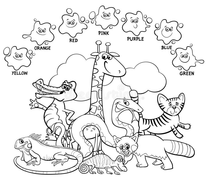 Main colors coloring book with animals stock illustration